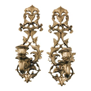 Vintage Hollywood Regency Gold Wall Sconces - a Pair For Sale