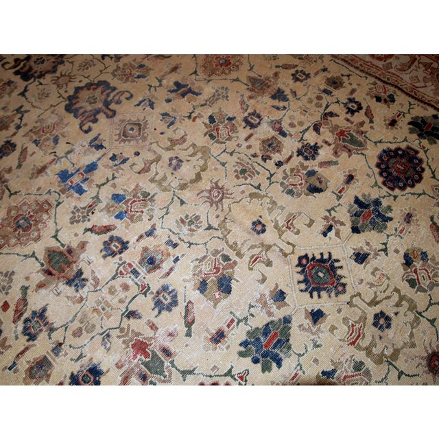 Early 20th Century 1900s Handmade Antique Persian Mahal Distressed Rug 8.10' X 11.6' For Sale - Image 5 of 9