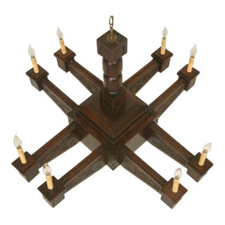 Antique Large Hand-Carved Walnut Mission/Arts & Crafts Chandelier For Sale