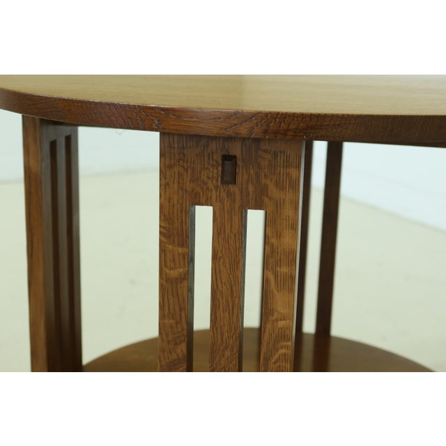 2000 - 2009 Stickley Round Mission Oak Occasional Lamp Table For Sale - Image 5 of 8