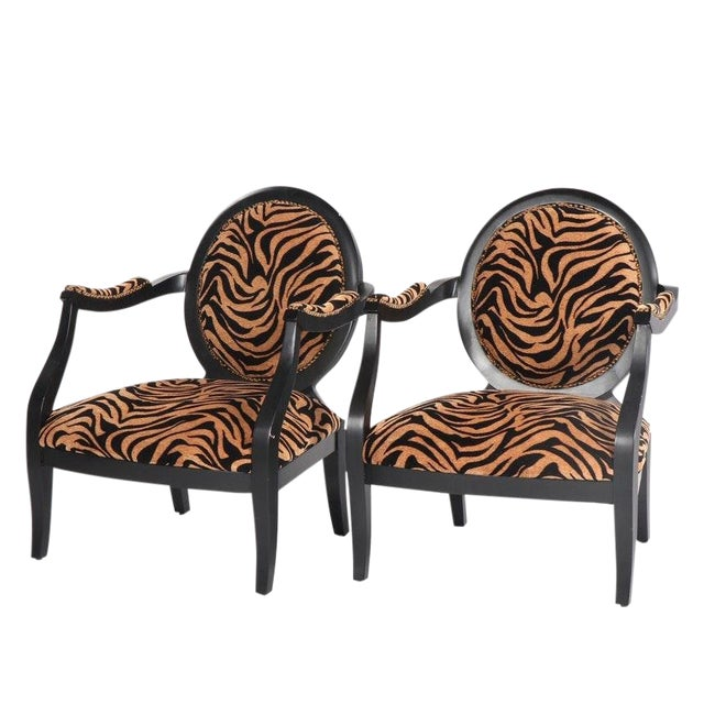 Louis XVI Style Oval Back Fauteuil Armchairs With Animal Print For Sale