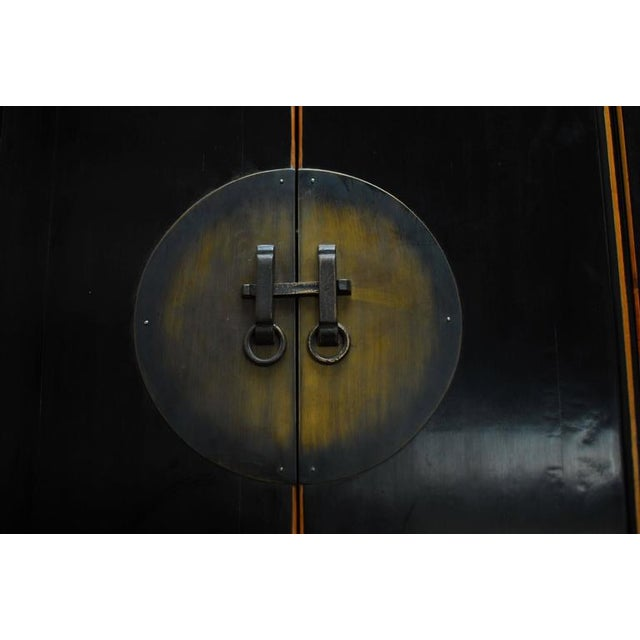 Asian Chinese Tall Black Lacquer Cabinet For Sale - Image 3 of 6