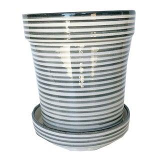 Modern Medium Gray Bullseye Ceramic Planter For Sale