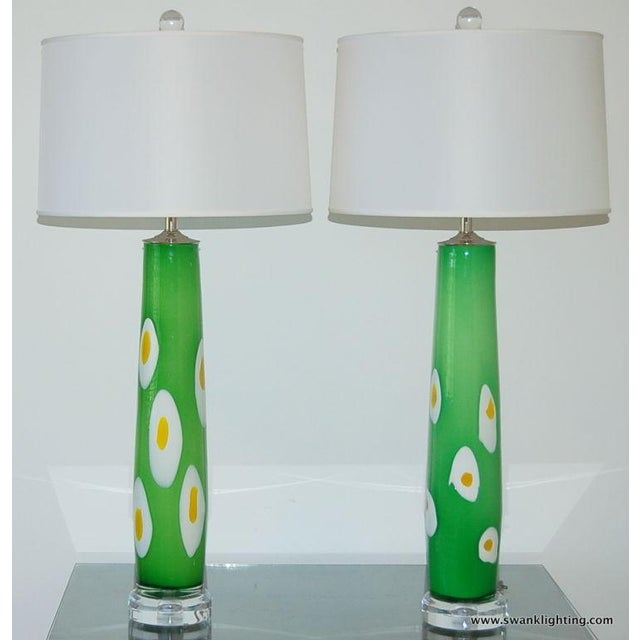 1960s Vintage Murano Glass Table Lamps Green Yellow For Sale - Image 5 of 8