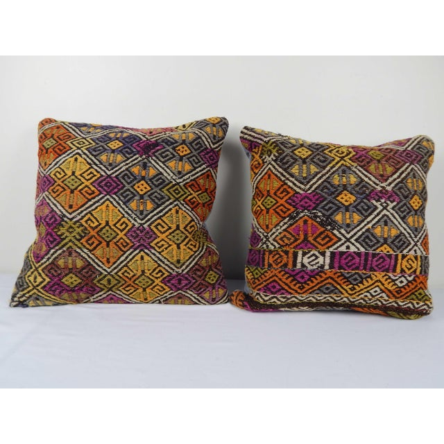 """Turkish Kilim Pillow Cover - a Pair 18"""" X 18"""" For Sale In Philadelphia - Image 6 of 6"""