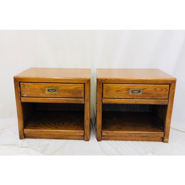 Mid 20th Century Pair Vintage Campaign Style Side Tables For Sale - Image 5 of 13