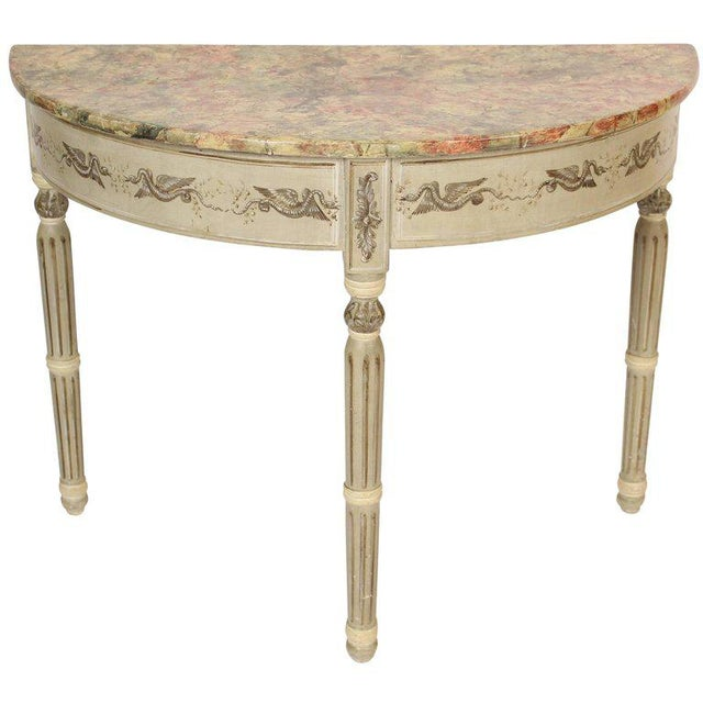 Louis Philippe Painted Demilune Console Table For Sale - Image 10 of 10