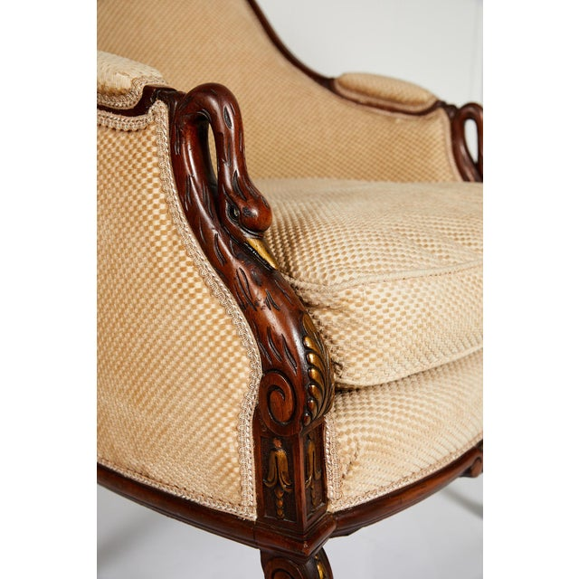 Wood French Empire Style Swan Arm Tub Chair For Sale - Image 7 of 9