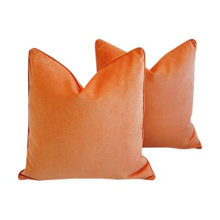 "Custom Tailored Tangerine Orange Velvet Feather/Down Pillows 24"" Square - Pair For Sale"