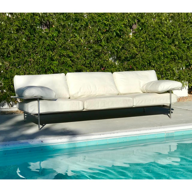 Contemporary 1970s Vintage Antonio Citterio for B & B Italia White Leather Diesis Sofa For Sale - Image 3 of 12