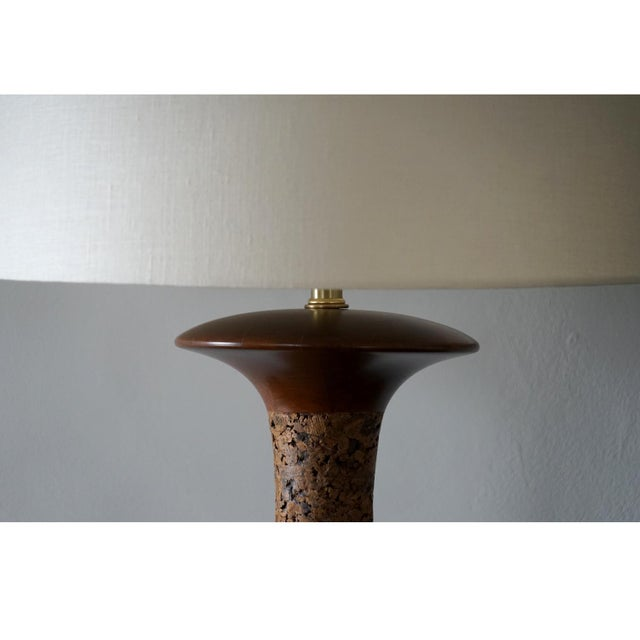 1960s Spun Walnut and Cork Table Lamp With Shade For Sale - Image 4 of 7