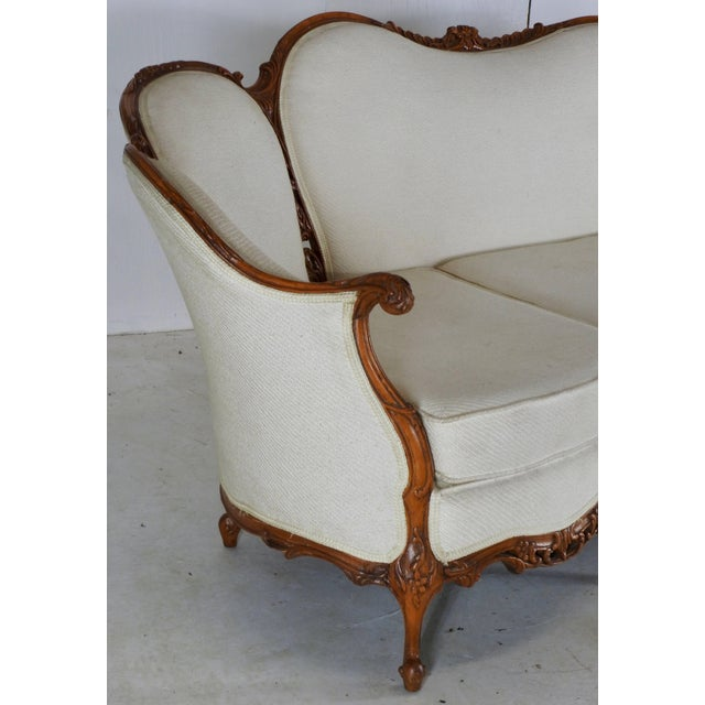 Rococo Early 19th Century French Victorian Fabric With Wood Sofa For Sale - Image 3 of 11