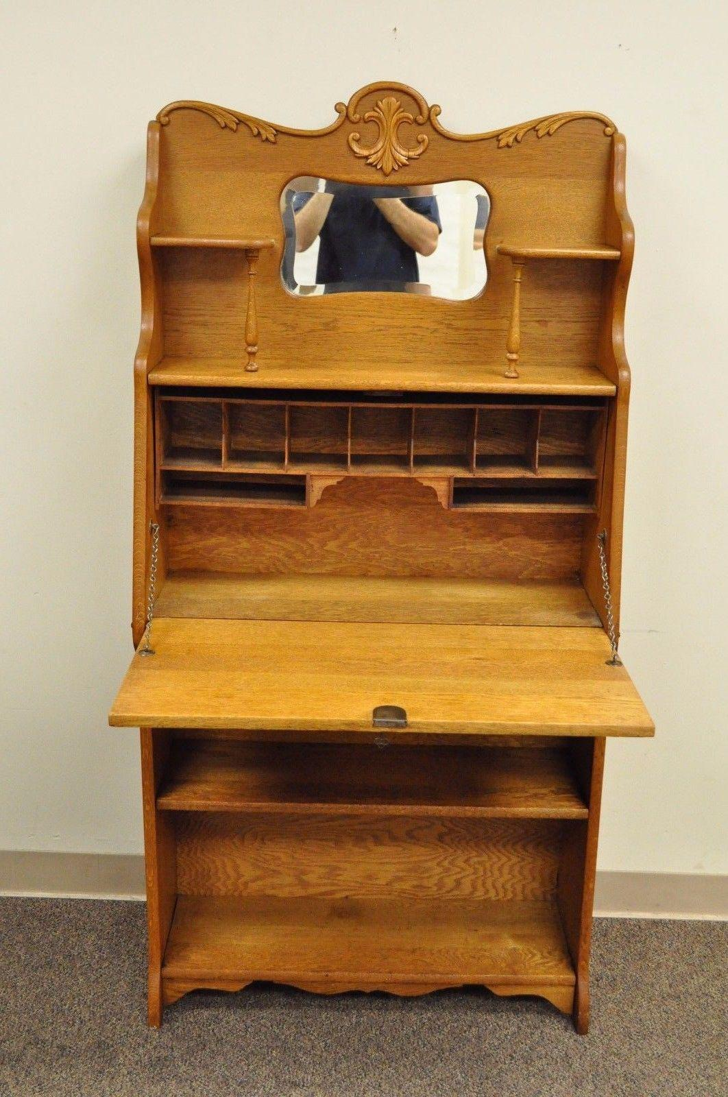 Antique Victorian Golden Oak Slant Drop Front Secretary Desk Rh Chairish Com With Mirror