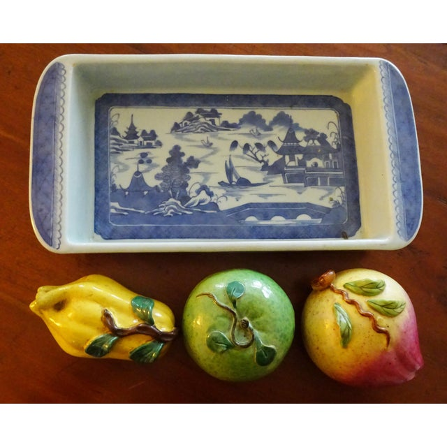 """A very nice Canton Rectangular Bulb Bowl with three very large pieces of old altar fruit 4' W / 4"""" H The Canton Export..."""