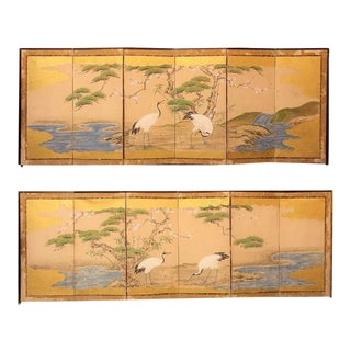 Japanese Four Panel Screen Calligraphy Birds Landscape Blue Gold Black Summer Cranes Water Antique Vintage - a Pair For Sale