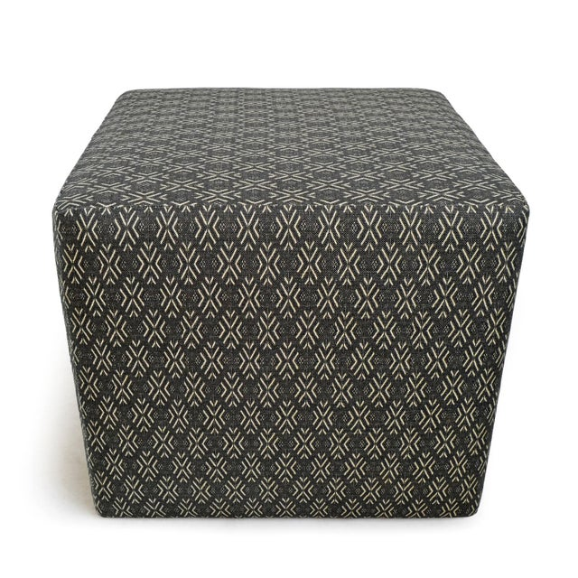 African Mali Print Upholstered Cube Stool For Sale - Image 3 of 5