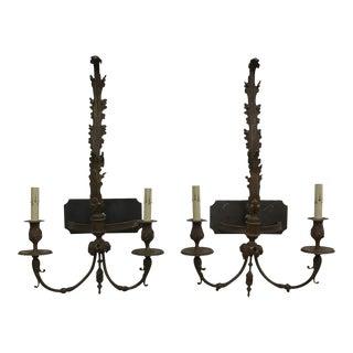 Cast Bronze Painted Sconces - a Pair