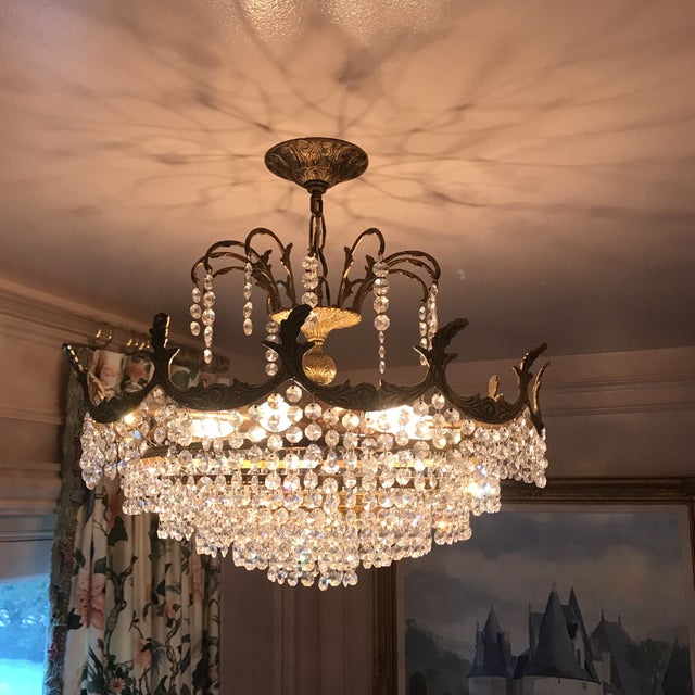 Art Deco Crystal and Brass Light Fixture - Image 2 of 7
