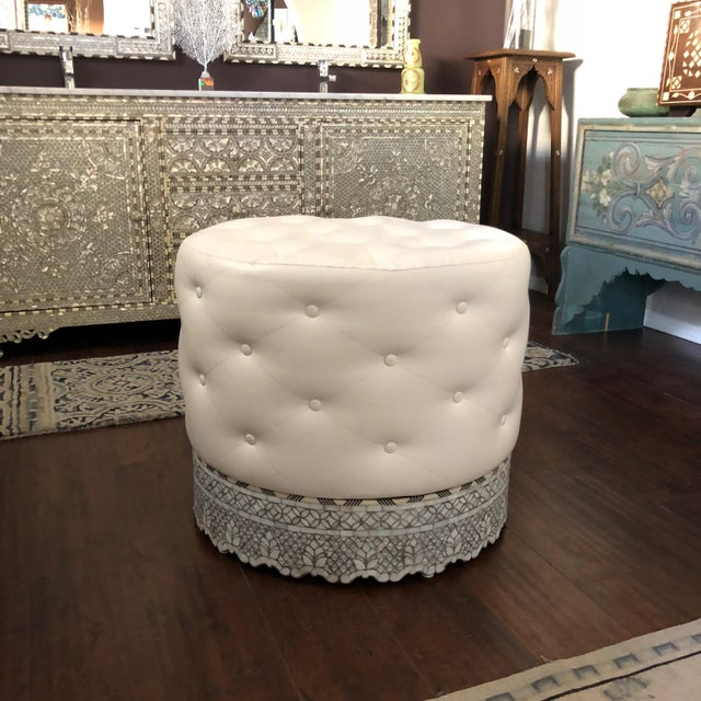 2010s Mother of Pearl Inlay Large Ottoman For Sale - Image 5 of 8