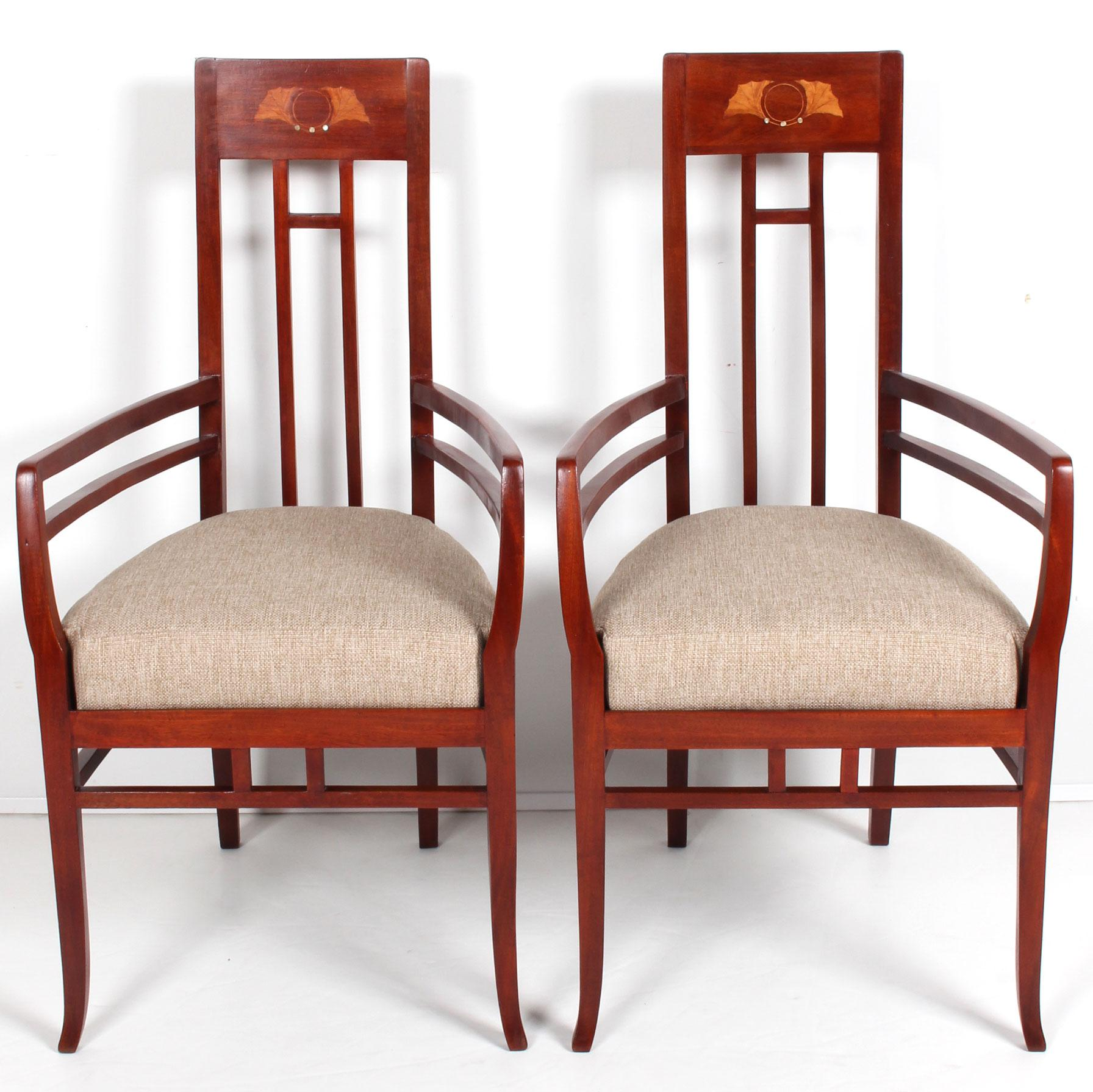 Striking And Artistically Executed, This Set Of C. 1920 Art Nouveau Chairs  With Exaggerated