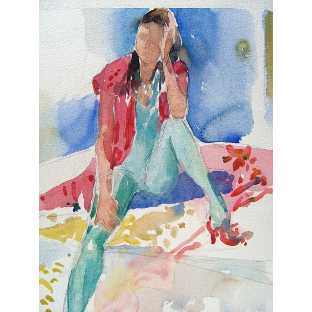 Fashion study watercolor on paper, circa 1980s. Unsigned, unframed.