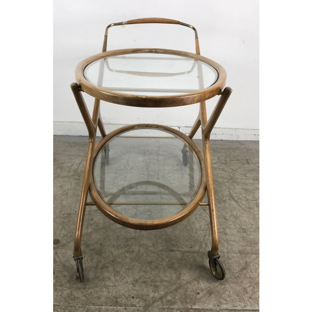 Cesare Lacca 1960s Bar Cart With Glass Shelves and Brass Details For Sale In Buffalo - Image 6 of 8