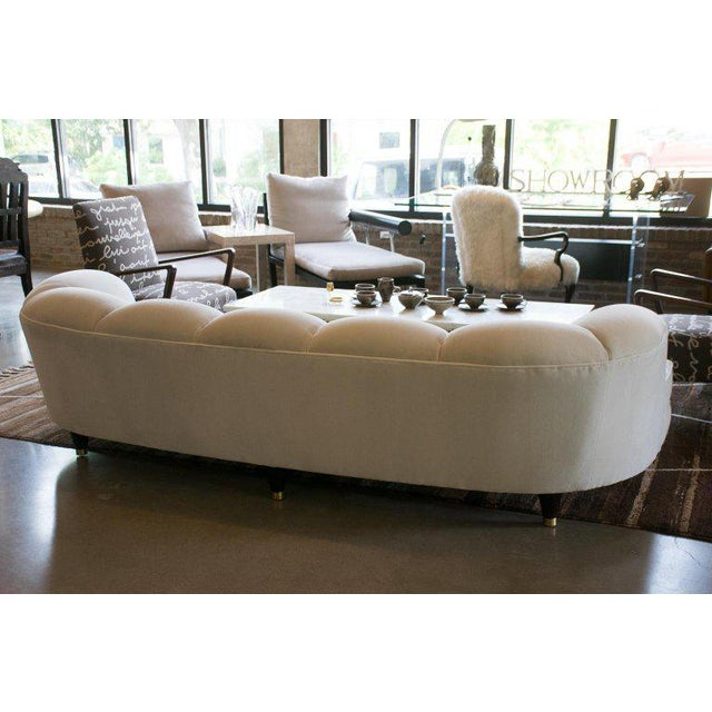 1950s Fully Restored Channelled Sofa by Edward Wormley in Pale Gray or White For Sale - Image 10 of 11