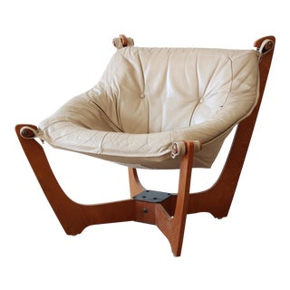 "Odd Knutsen Teak ""Luna"" Chair in Tan Leather For Sale"