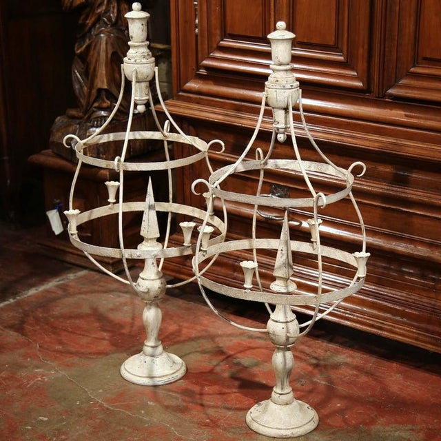 French French Wood & Iron Painted Girandoles Candleholders - A Pair For Sale - Image 3 of 7