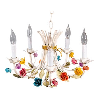 Vintage Mid-Century Italian Tole Roses Five Arm Chandelier For Sale
