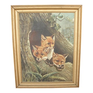 """Antique """"Family of Foxes"""" Oil on Canvas Painting by Finlayson For Sale"""