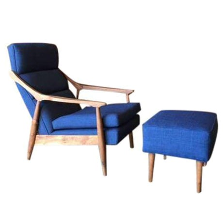 CUSTOM MID CENTURY LOUNGE CHAIR WITH OTTOMAN For Sale In Los Angeles - Image 6 of 6