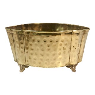 """Vintage Hand Hammered Container English """"Style"""" Brass Planter For Sale"""