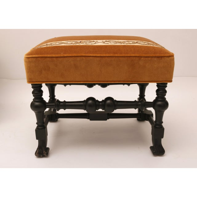 Pair of 19th Century Italian Stools, Rectangular with Gold Velvet and Embroidered Fabric - Image 7 of 8