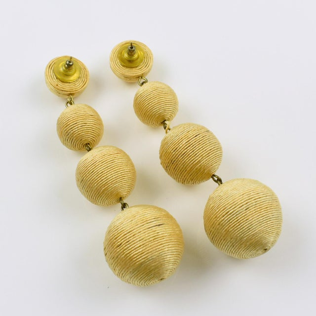 1980s Dancing Disco Oversized Dangling Yellow Thread Pierced Earrings For Sale - Image 4 of 6