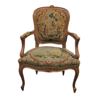 Louis XV Walnut Needlepoint Chair