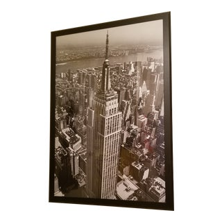 Huge Mid Century Empire State Building New York City Framed Skyline Print For Sale