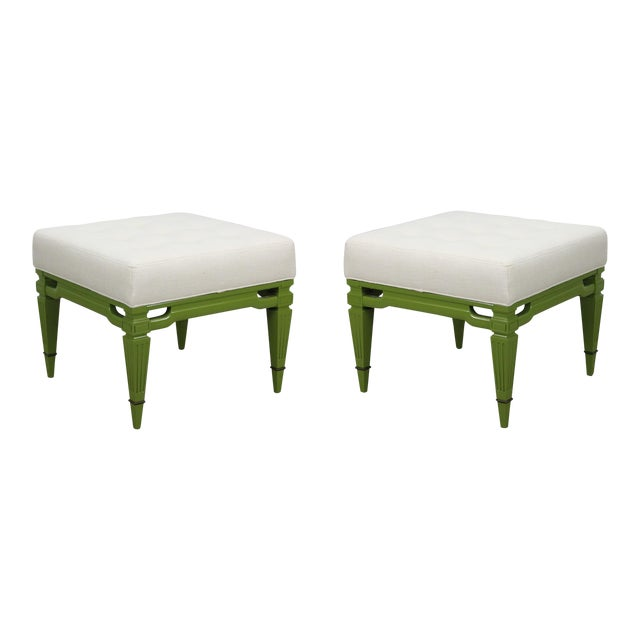 Mid-Century Cream Linen Benches, a Pair For Sale