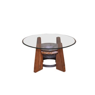 Rustic Round Glass Top Coffee Table For Sale