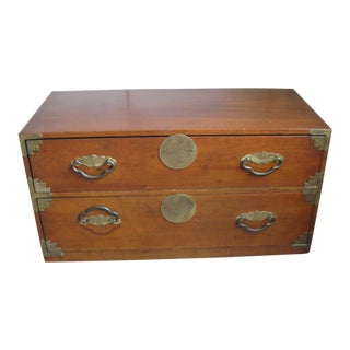 1960s Campaign Henredon Fine Furniture 2-Drawer Commode For Sale