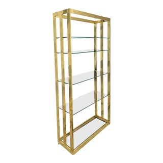 1980s Milo Baughman Style Vintage Brass and Glass Etagere For Sale