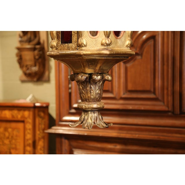 18th Century Italian Carved Giltwood Three-Light Lantern With Stained Glass For Sale - Image 10 of 13
