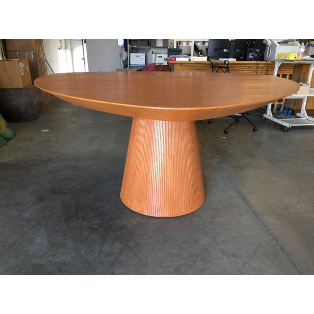 "Contemporary High Style Guitar Pick Shaped ""Knife Edge"" Dining Room Table With Tapered Base For Sale - Image 3 of 8"