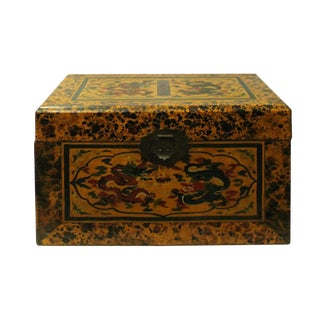 Chinese Distressed Yellow Dragon Graphic Rectangular Box For Sale