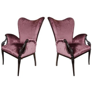 Pair of 1940s Wingback Chairs in Smoked Amethyst Velvet by Grosfeld House For Sale