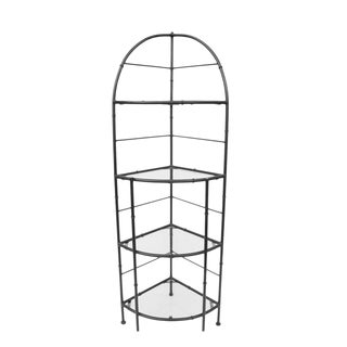 Hollywood Regency Metal Faux Bamboo Corner Stand Bakers Rack Kitchen Etagere