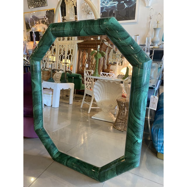 1970s Vintage Large Green Faux Malachite Vertical or Horizontal Octagon Wall Mirror For Sale - Image 5 of 13