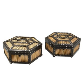 Pair of Ebony and Porcupine Quill Hexagonal Boxes, Ceylon, Circa 1880 For Sale