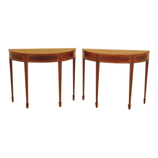 Federal Inlaid Mahogany Demilune Console Tables - a Pair