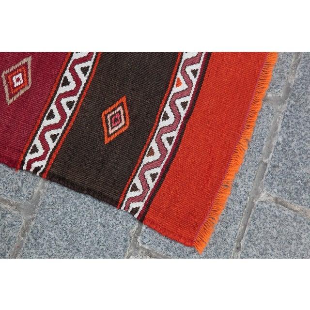 Cotton Orange Stripe Design Kilim Rug - 4' 3'' X 2' 6'' For Sale - Image 7 of 11